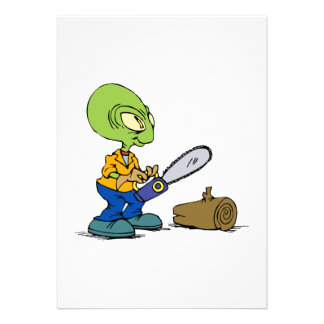 Alien cutting wood personalized announcement
