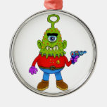 Alien Cyclops Beasty Round Metal Christmas Ornament