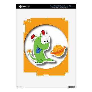 Alien D orange background Skins For iPad 3
