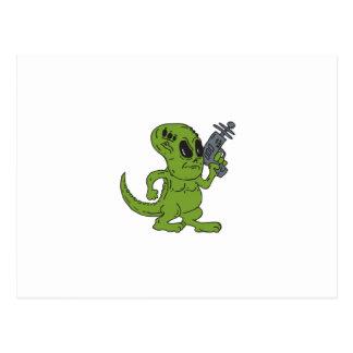 Alien Dinosaur Holding Ray Gun Cartoon Postcard
