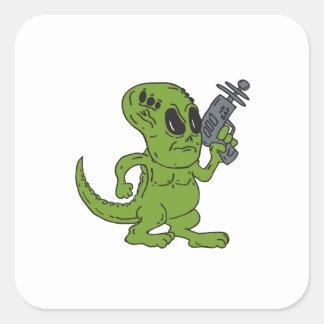 Alien Dinosaur Holding Ray Gun Cartoon Stickers