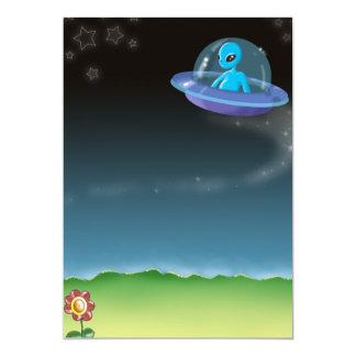 alien discovers a pretty earth flower card