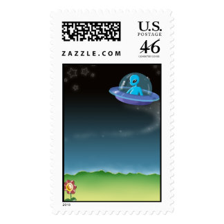 alien discovers a pretty earth flower postage