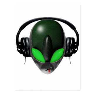 Alien DJ Music Lover  - Reptile Green Postcard