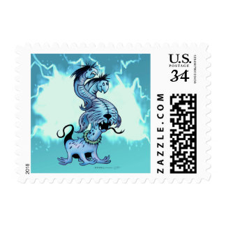 """ALIEN DOG MONSTER POSTAGE STAMP Small, 1.8"""" x 1.3"""""""