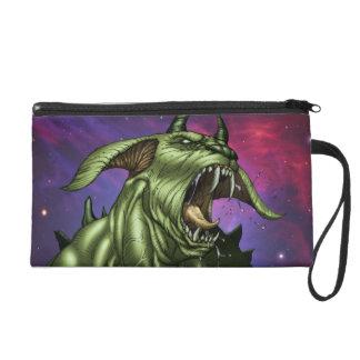 Alien Dog Monster Warrior by Al Rio Wristlet Clutch