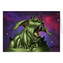 alien, aliens, dog, monster, warrior, invader, outer space, al rio, comic art, illustration, drawing, ufo, Card with custom graphic design