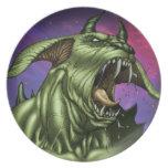 Alien Dog Monster Warrior by Al Rio Dinner Plate