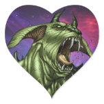 Alien Dog Monster Warrior by Al Rio Heart Stickers