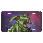 Alien Dog Monster Warrior by Al Rio License Plate