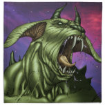 Alien Dog Monster Warrior by Al Rio Printed Napkins
