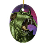 Alien Dog Monster Warrior by Al Rio Christmas Tree Ornaments