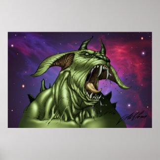 Alien Dog Monster Warrior by Al Rio Poster