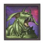 Alien Dog Monster Warrior by Al Rio Premium Trinket Boxes