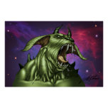 Alien Dog Monster Warrior by Al Rio Print