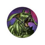 Alien Dog Monster Warrior by Al Rio Round Clock