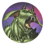Alien Dog Monster Warrior by Al Rio Round Sticker