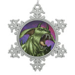Alien Dog Monster Warrior by Al Rio Snowflake Pewter Christmas Ornament