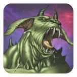 Alien Dog Monster Warrior by Al Rio Square Sticker