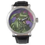 Alien Dog Monster Warrior by Al Rio Wristwatch