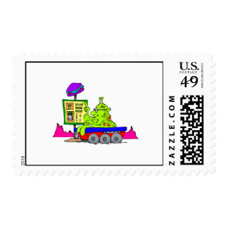 Alien Drive Thru Postage Stamps