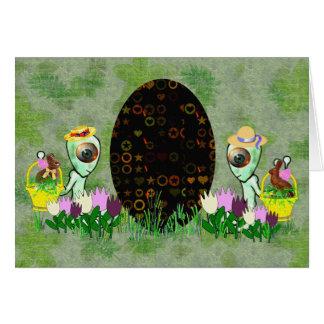 Alien Easter Egg Hunt Stationery Note Card