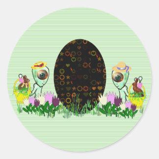 Alien Easter Egg Hunt Classic Round Sticker