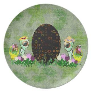 Alien Easter Egg Hunt Dinner Plate
