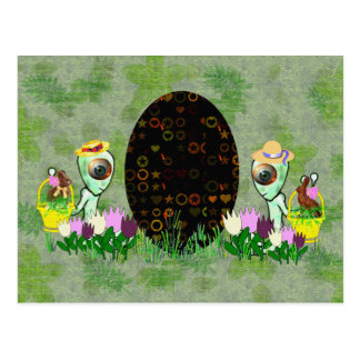 Alien Easter Egg Hunt Postcard