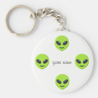 """Alien Emoji Face  and '' Your Name Here """" Keychain"""