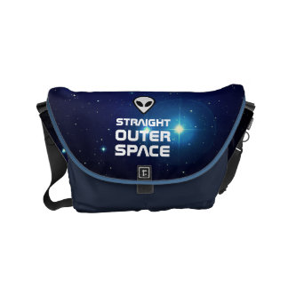 Alien Emoji with Outer Space Sci Fi Scene Small Messenger Bag