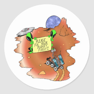 Alien Eviction Classic Round Sticker