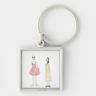 Alien Exposed as a Drag Queen Silver-Colored Square Keychain
