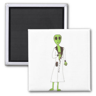 Alien Exposed Stealing Candy 2 Inch Square Magnet