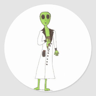 Alien Exposed Stealing Candy Classic Round Sticker