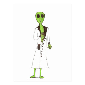 Alien Exposed Stealing Candy Postcard