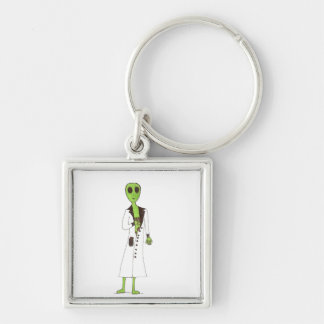 Alien Exposed Stealing Candy Silver-Colored Square Keychain