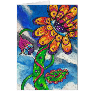 Alien Eye Flower greeting card