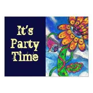 Alien Eye Flower party invitation