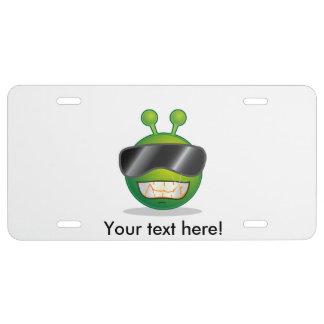 Alien face cartoon license plate