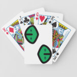 Alien Face on Green Bicycle Poker Deck