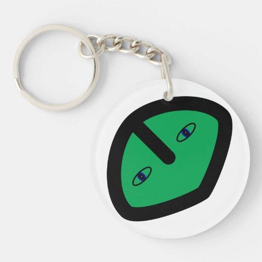 Alien Face on Green Keychain