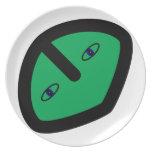 Alien Face on Green Plate