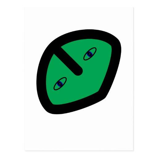 Alien Face on Green Postcard