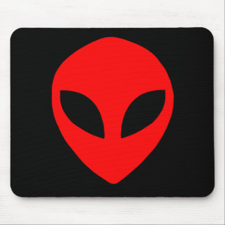 alien face red mouse pad