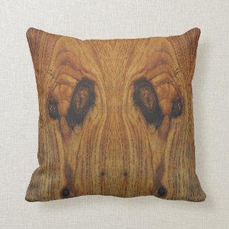 Alien Faces Wood Grain Throw Pillow