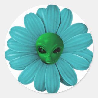 Alien Flower Heads Classic Round Sticker