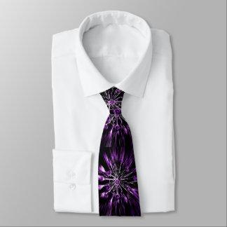 Alien flowers tie purple/white on black