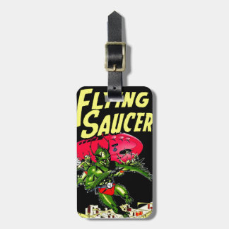Alien Flying Saucers Vintage Comic Book Art Luggage Tag