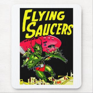 Alien Flying Saucers Vintage Comic Book Art Mouse Pad